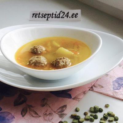 Горохововый суп по-деревенски с фрикадельками