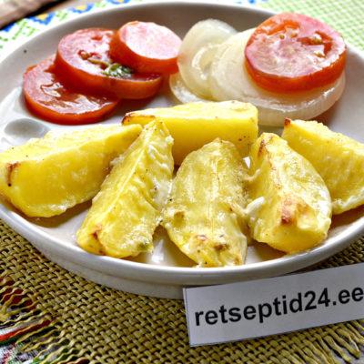 Простая картофельная запеканка с майонезом и чесноком